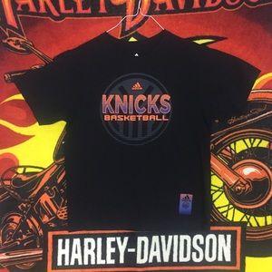 NY Knicks Basketball Adidas 3 Stripe Tee Shirt